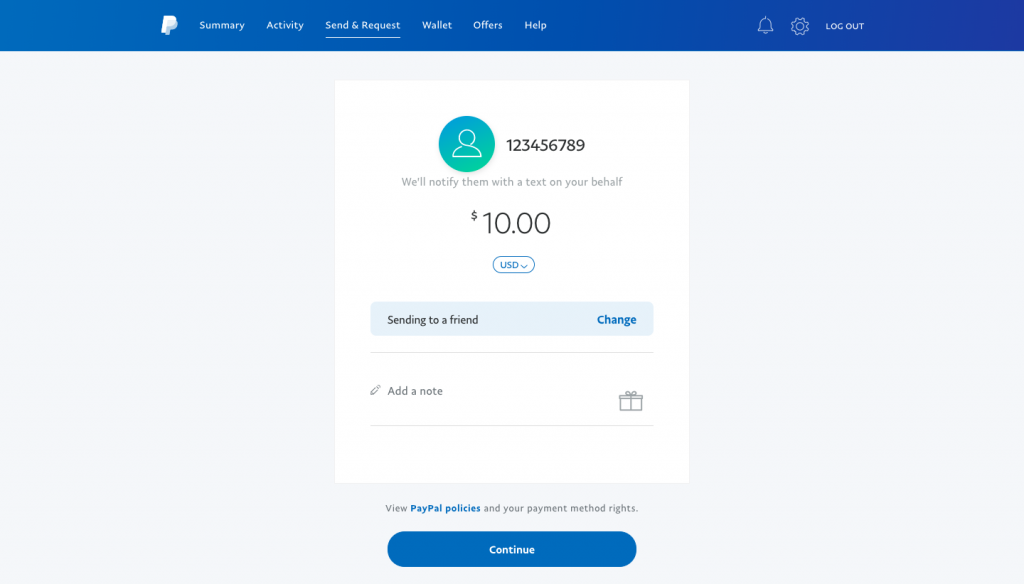 Sending Money to a Friend or Family Member With PayPal Account